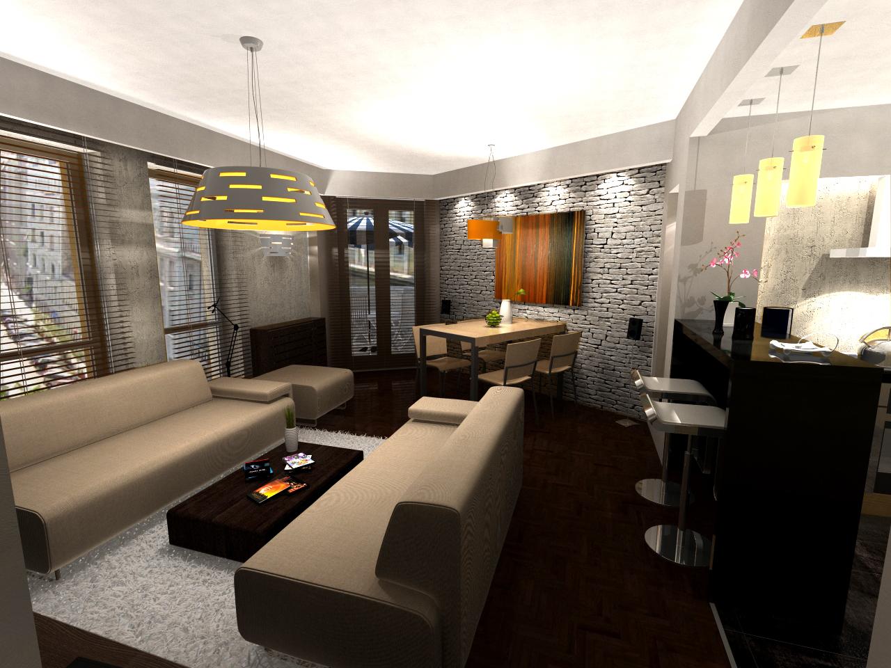 Nappali - látványterv / Living room - visualization ...